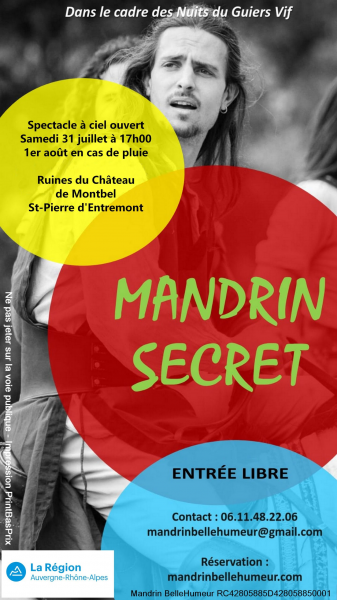URGENT! Mission ponctuelle le week-end du 31 juillet 2021 pour le spectacle théâtral à ciel ouvert Mandrin Secret sur les ruines du Château de Montbel